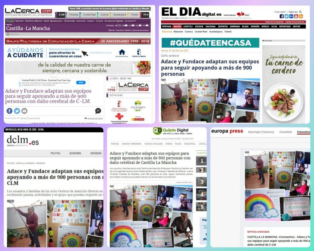 Los medios de comunicación de Castilla-La Mancha se hacen eco de la labor que desarrollamos desde ADACE CLM y FUNDACE CLM para seguir dando atención y apoyo a más de 900 personas con daño cerebral sobrevenido y sus familias en toda la región.
